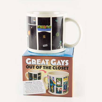 "Mug on top of a box that reads ""Great Gays Out of the Closet"""