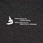 "a close-up of image on the back: the Museum icon and the text ""Canadian Museum for Human Rights"", and ""Musée canadien pour les droits de la personne"""