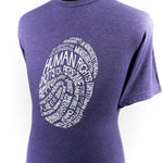 "Plum crew-neck T-shirt with the text ""human rights"" in several different languages; shown on a male bust form."