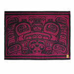 red and black wool blanket featuring Indigenous art