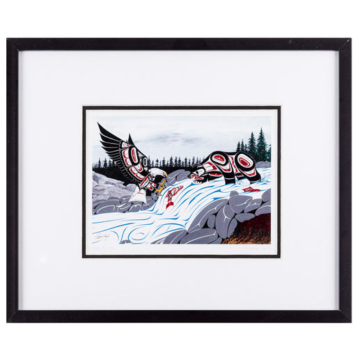 framed art print featuring an eagle, fish and a bear