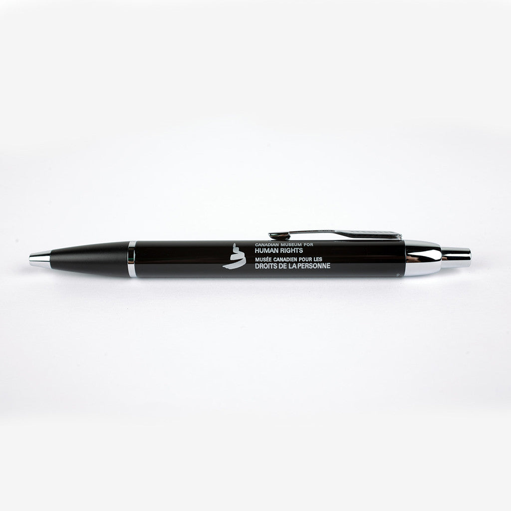 "pen featuring the words ""Canadian Museum for Human Rights"" and ""Musée canadien pour les droits de la personne"""