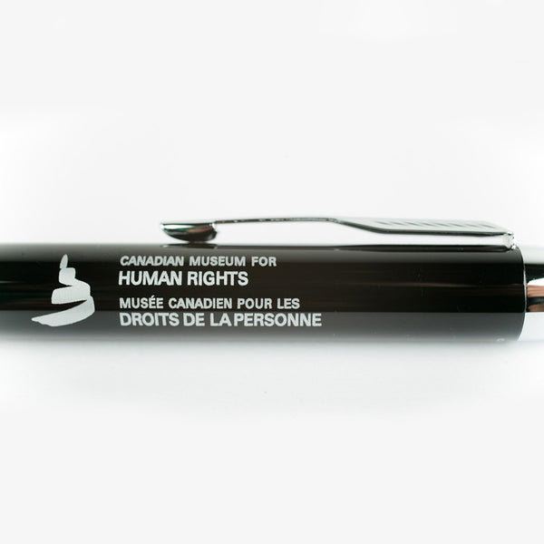 "close-up of logo and the words ""Canadian Museum for Human Rights"" and ""Musée canadien pour les droits de la personne"""