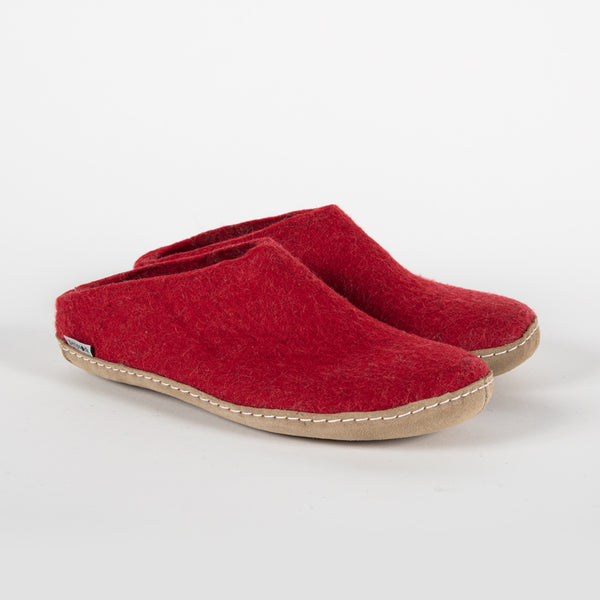 red wool slippers