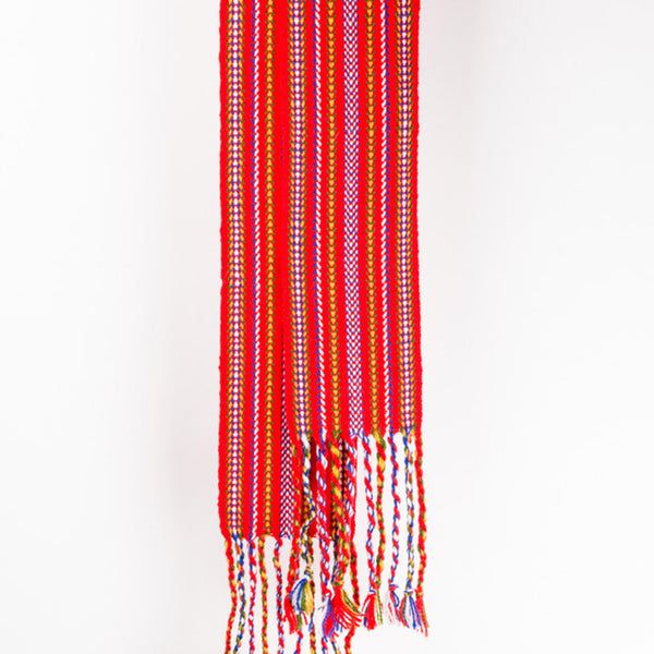 voyageur sash woven with the Carnaval pattern