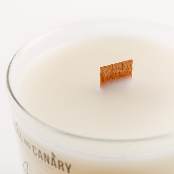 close-up of a wooden wick