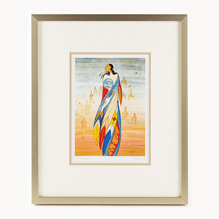 art print featuring an image of an Indigenous woman; print has a white border