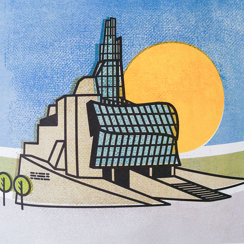 print of a graphic illustration of the CMHR; a blue sky, yellow sun and two green trees are also in the image