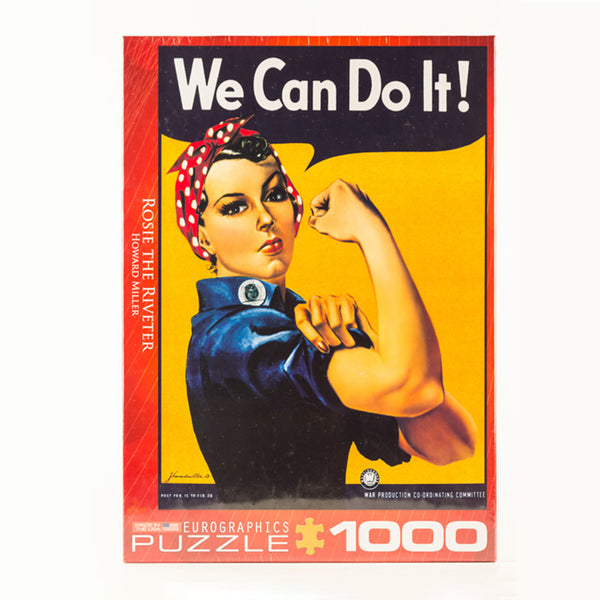 "Puzzle box with the image of Rosie the Riveter and a talking bubble that reads ""We Can Do It!"""