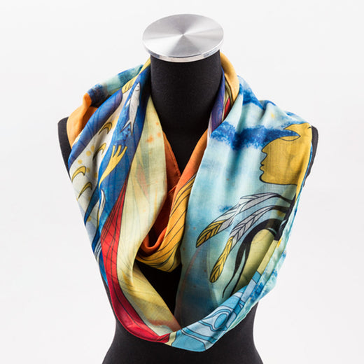 circle scarf featuring art depicting an Indigenous woman