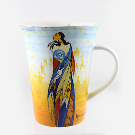 mug featuring art depicting an Indigenous woman