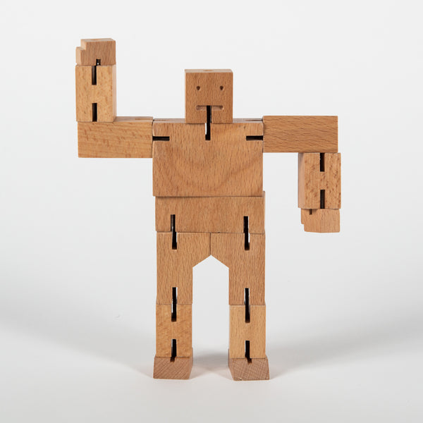 wooden robot with posable limbs