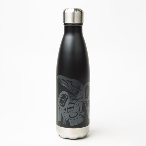 water bottle featuring a Haida design of a raven