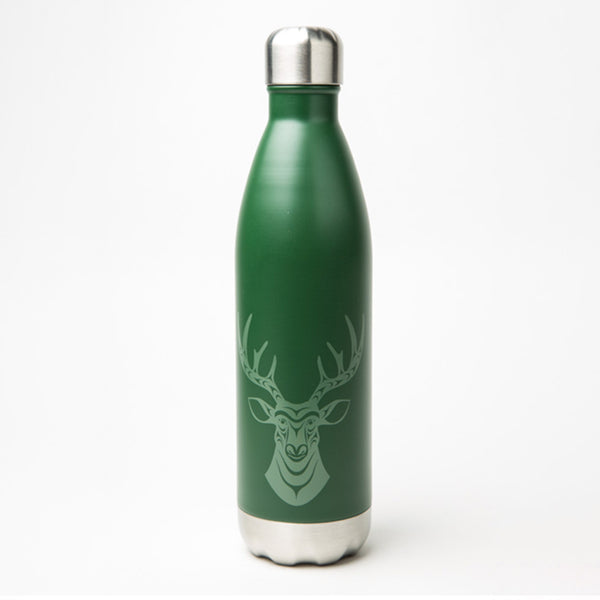 green water bottle featuring a Haida design of a deer; bottle has a silver cap and base