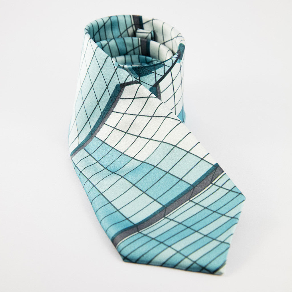 silk tie featuring the window design of the Museum