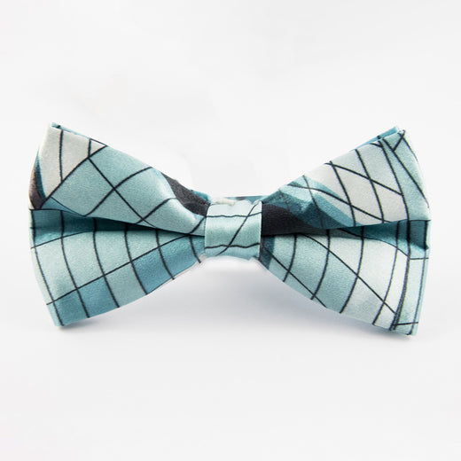 silk bow tie featuring the window design of the Museum