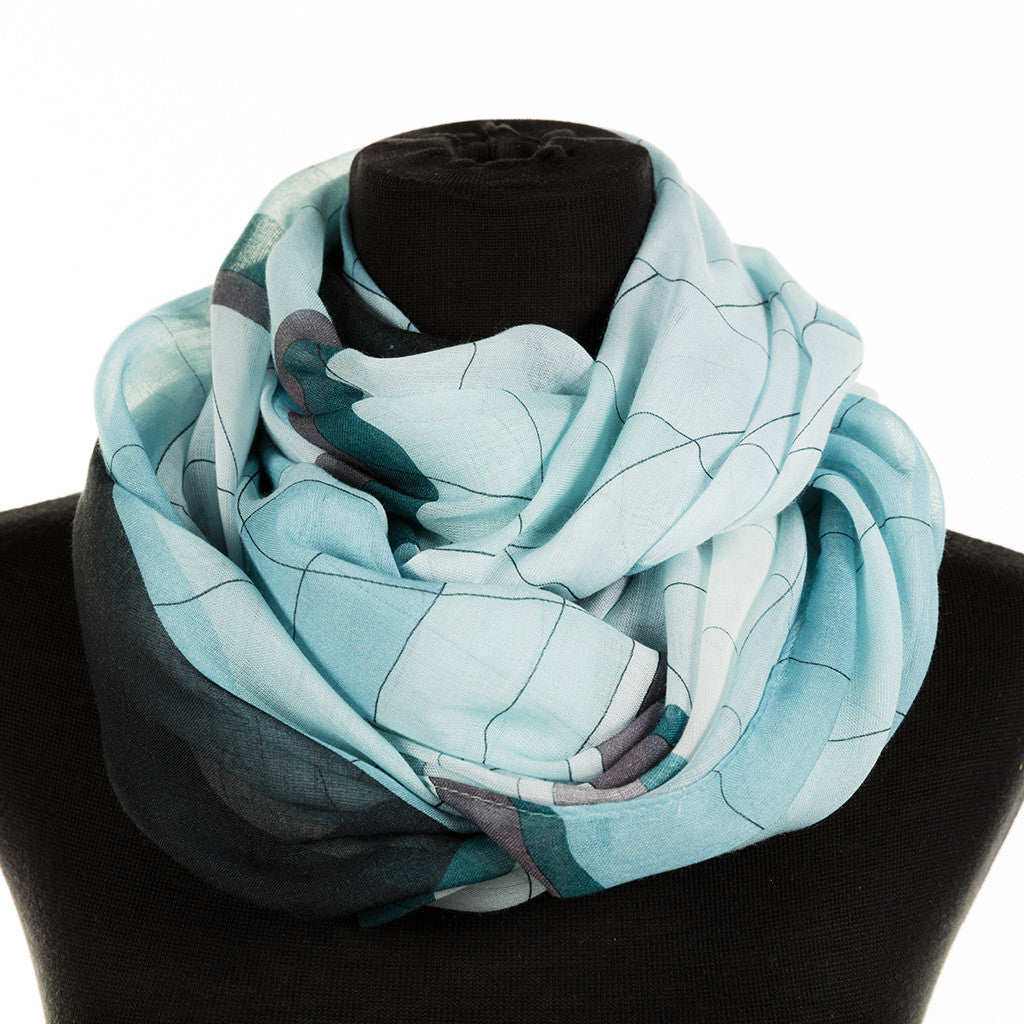 infinity scarf featuring a glass window design