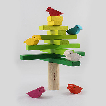 wooden toy tree with six wooden birds