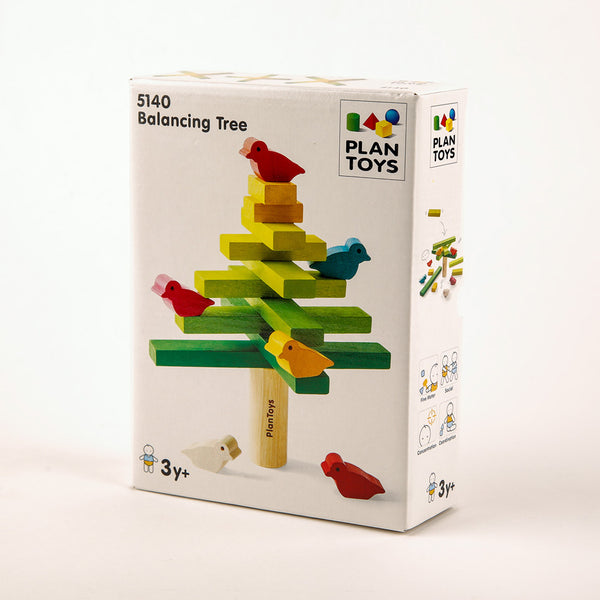 "a box that reads ""Balancing Tree"" and shows a wooden tree with birds"
