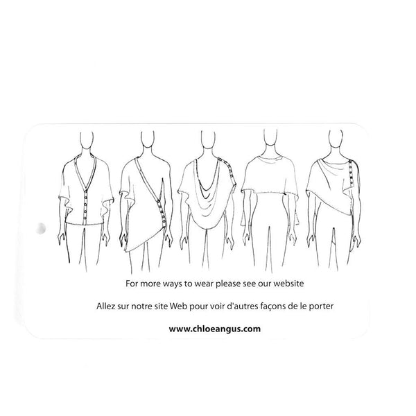 "illustration showing different ways to wear a shawl; below it is the text ""For more ways to wear please see our website"", ""Allez sur notre site Web pour voir d'autres façons de le porter"" and ""www.chloeangus.com"""