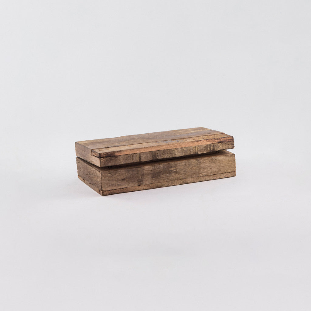 small rectangular-shaped wooden box with a lid that is slightly open