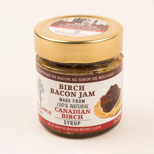 "Jar of jam featuring the text ""Birch Bacon Jam"""
