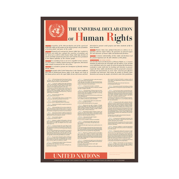 "Poster entitled ""The Universal Declaration of Human Rights""; the 30 articles of the Declaration are listed on the poster."