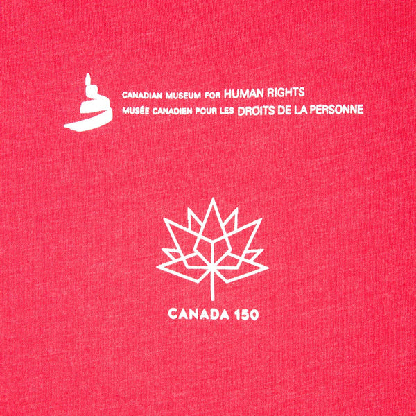 "a close-up of the image that appears on the back: the Museum icon, the Canada 150 logo and the words ""Canadian Museum for Human Rights"" and ""Musée canadien pour les droits de la personne,"" printed in white"