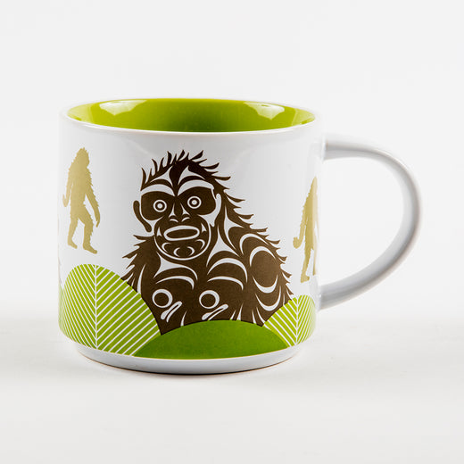 mug featuring an illustrated design of the Sasquatch