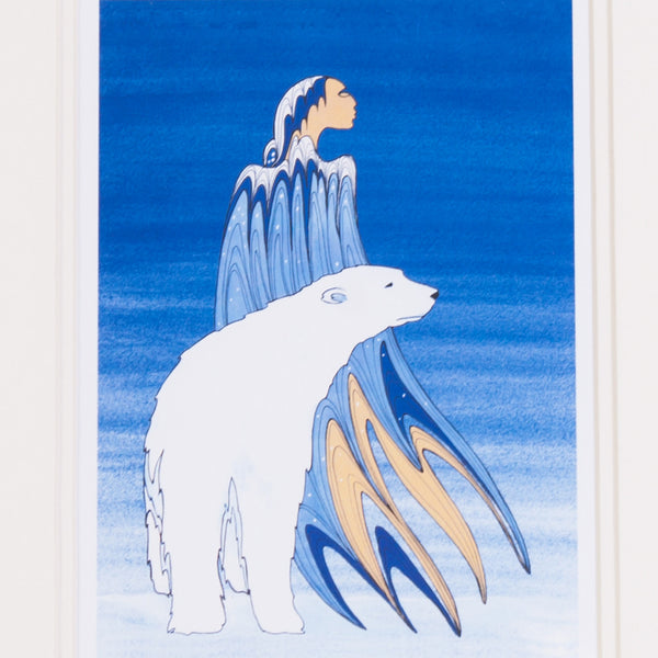 close-up of art featuring an Indigenous woman and a polar bear