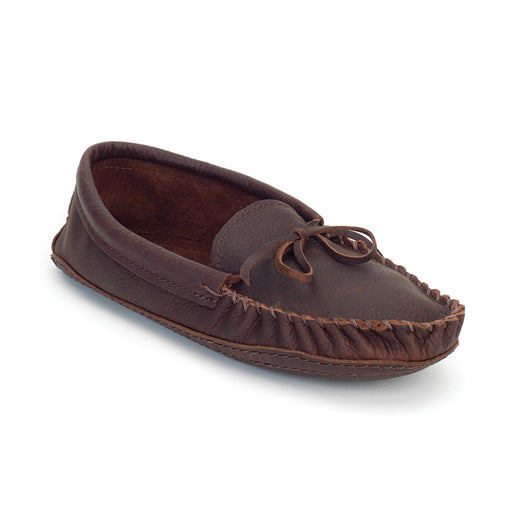 brown moccasins featuring the traditional stitching of a moccasin toe
