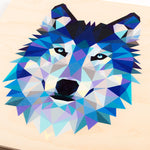 close-up featuring a geometric design of a wolf