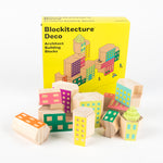 "pastel-coloured building blocks in front of a box with the text ""Blockitecture® Deco Architect Building Blocks"""