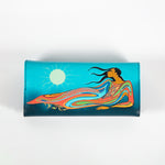 the back of a wallet featuring artwork by Indigenous artist Maxine Noel