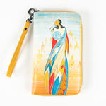 wallet featuring art depicting a Indigenous woman