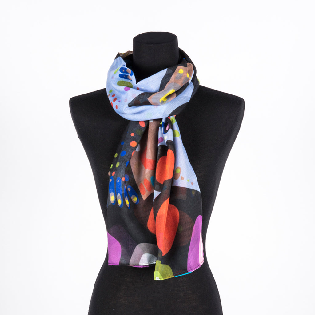Scarf featuring colourful artwork of a bear