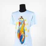 women's shirt featuring art depicting an Indigenous woman