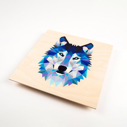 wood print featuring a geometric design of a wolf