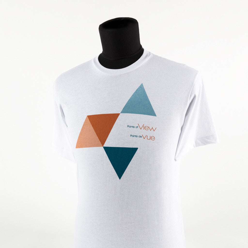 "shirt with a graphic image featuring triangles and the text ""Points of view"" and ""Points de vue"""