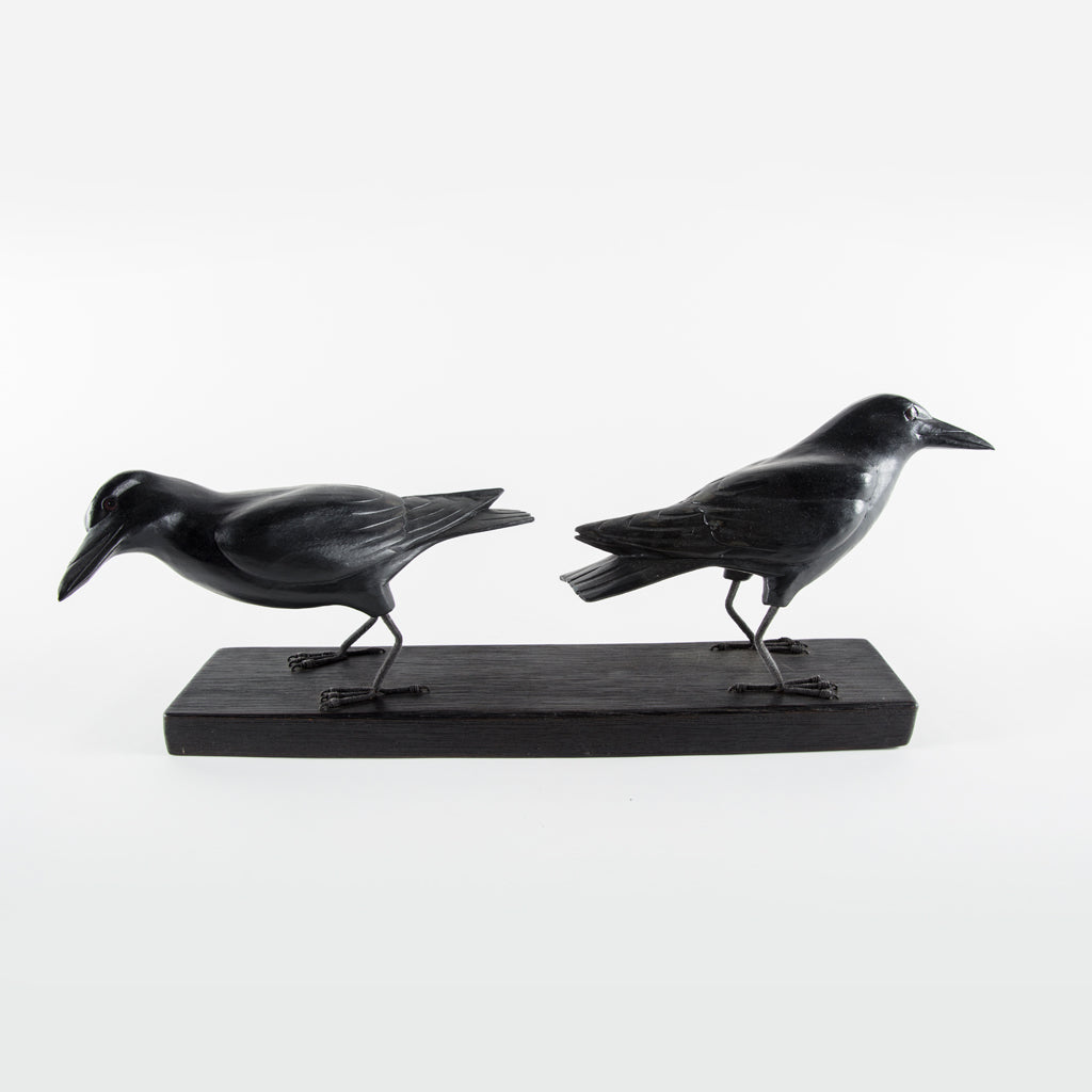 Pair of crows on a rectangular base