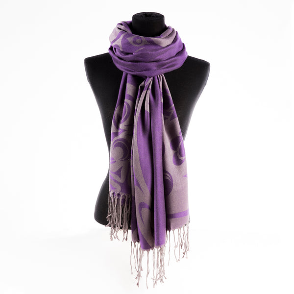 purple scarf featuring a purple and gray pattern designed by Indigenous artist Simone Diamond