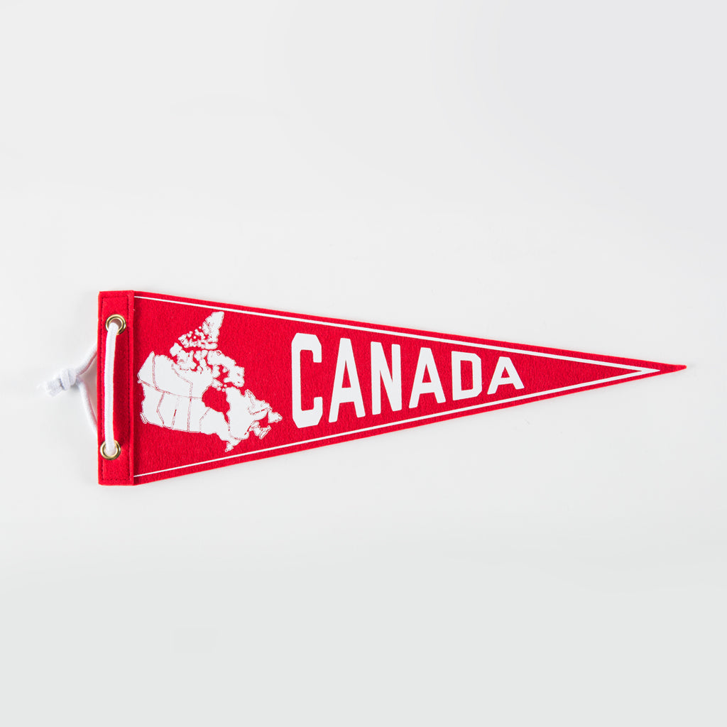 "Pennant featuring the text ""Canada"" and an outline of Canada, including the provincial borders"