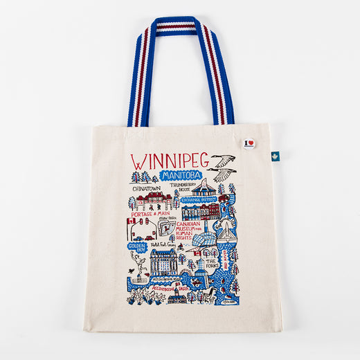 "tote bag featuring the text ""Winnipeg"" and illustrations of Winnipeg landmarks"