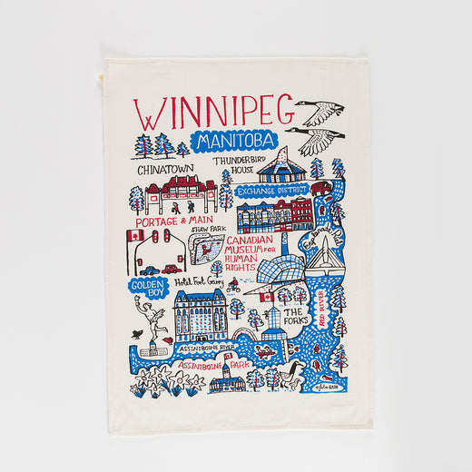 "tea towel featuring the text ""Winnipeg"" and illustrations of Winnipeg landmarks"