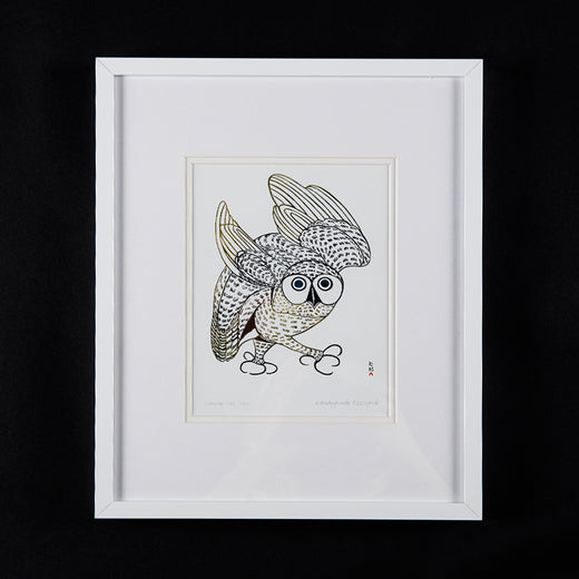 "print of an owl entitled ""Summer Owl, 1972""; the print also features the artist's name ""Kananginak Pootoogook"""