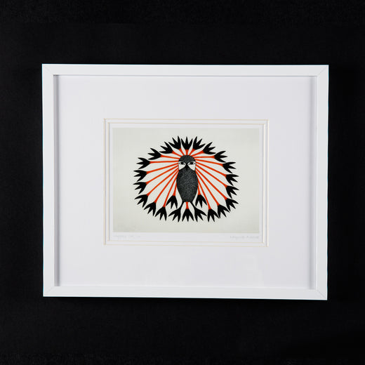 "print of an owl entitled ""Majestic Owl, 2011""; the print also features the artist's name ""Kenojuak Ashevak"""