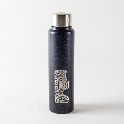 Wood-grain look water bottle in navy and purple featuring Indigenous artwork of a thunderbird and a whale