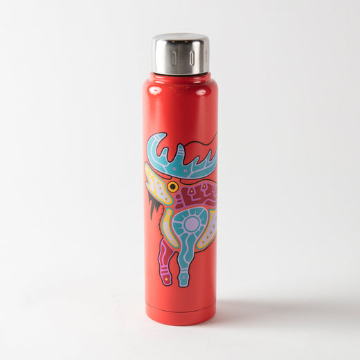 Dark-coral water bottle featuring Indigenous art of a moose