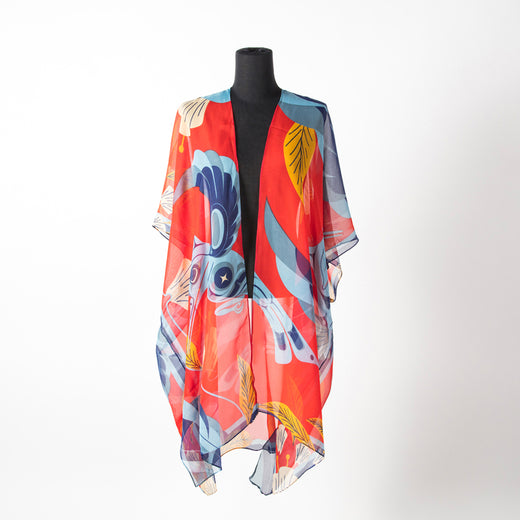 Blue and red sheer wrap featuring art by Haida artist Marcel Russ