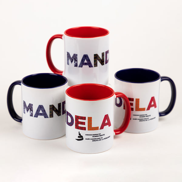 "Four mugs that feature the text ""MANDELA"""